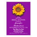 "sunflower purple bridal shower invitation 5"" x 7"" invitation card"