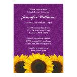 Sunflower Purple Damask Bridal Shower 5x7 Paper Invitation Card
