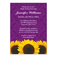 Sunflower Purple Damask Bridal Shower Card