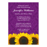 Sunflower Purple Damask Bridal Shower 5x7 Paper Invitation Card