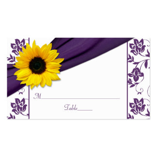 Sunflower Purple Damask Floral Wedding Place Cards Business Card
