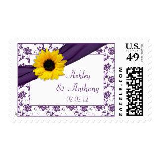 Sunflower Purple Damask Floral Wedding Postage