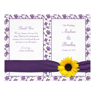 Sunflower Purple Damask Floral Wedding Program