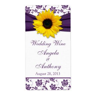 Sunflower Purple Damask Wedding Wine Bottle Labels