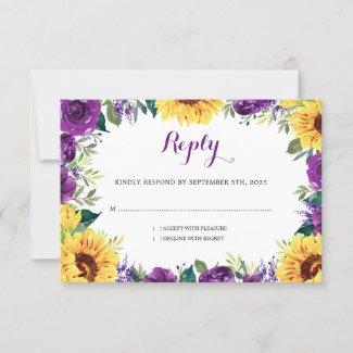 Sunflower Purple Floral Border Wedding RSVP Card