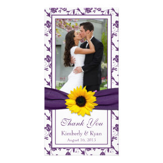 Sunflower Purple Floral Ribbon Wedding Thank You Card