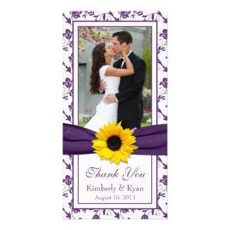 Sunflower Purple Floral Ribbon Wedding Thank You Photo Card
