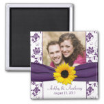 Sunflower Purple White Damask Wedding Magnet Fridge Magnets