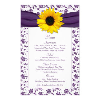 Sunflower Purple White Damask Wedding Menu Card
