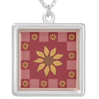 Sunflower Quilt Necklace