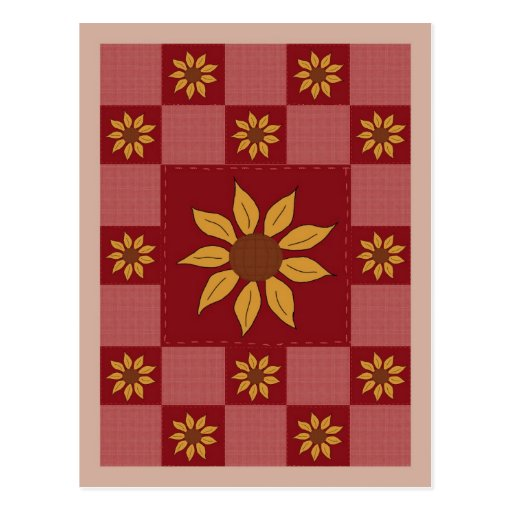Sunflower Quilt Postcard