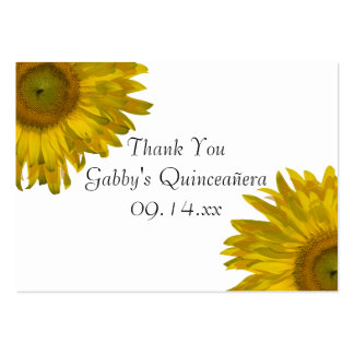 Sunflower Quinceanera Thank You Favor Tags Large Business Cards (Pack Of 100)