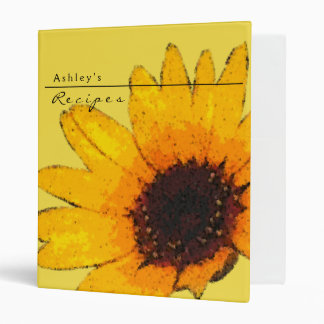 Sunflower Recipe 3 Ring Notebook 3 Ring Binder