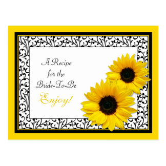 Sunflower Recipe Card for the Bride to Be