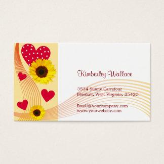 Sunflower red heart business Card