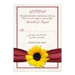 Sunflower Red Ribbon Damask Wedding RSVP Card