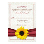 Sunflower Red Ribbon Damask Wedding RSVP Card Personalized Announcement