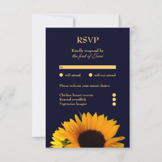 Sunflower Response Card (Navy Blue)