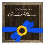 Sunflower Ribbon Barn Wood Frame Bridal Shower 5.25x5.25 Square Paper Invitation Card