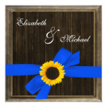Sunflower Ribbon Barn Wood Frame Wedding Personalized Announcements