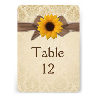 Sunflower Ribbon Gold Damask Damask Table card