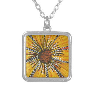 sunflower riot square pendant necklace