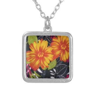 sunflower riot square pendant necklace