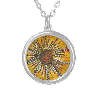 sunflower riot round pendant necklace