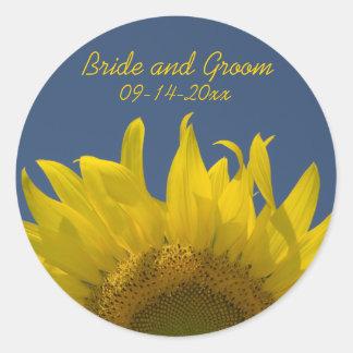 Sunflower Rising Wedding Envelope Seals Classic Round Sticker
