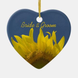 Sunflower Rising Wedding Heart Ornament