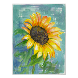 Sunflower Robins Egg Blue Watercolor Painting Poster