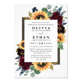 Sunflower Rose Burgundy Navy Blue Rehearsal Dinner Invitation