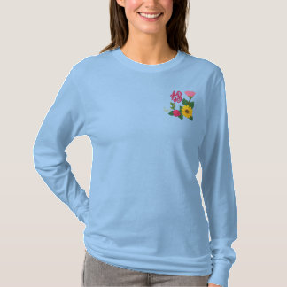 Sunflower Rose Monogram Embroidered Long Sleeve T-Shirt