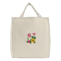 Sunflower Rose Monogram Embroidered Tote Bag