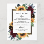 """Sunflower Roses Burgundy Navy Blue Wedding Menu<br><div class=""""desc"""">Design features elegant watercolor roses, peonies, wildflowers and sunflowers in various shades of burgundy red, navy blue and more over a wreath of eucalyptus greenery. Design also features a barn wood frame underneath the wreath. A unique font layout compliments the overall design. You can change the background color on the...</div>"""