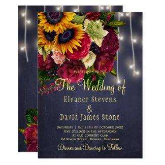 Sunflower roses  navy wedding invitations, rustic winter lights