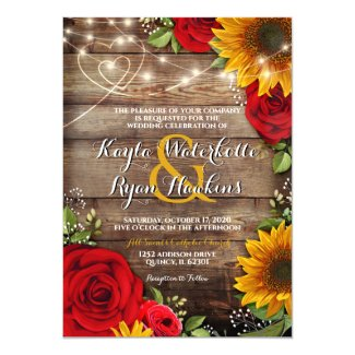 Sunflower & Roses Rustic Wood Lights Invitation