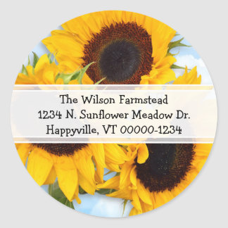 Sunflower Round Return Address Label