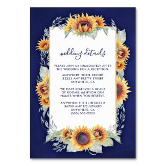 Royal Blue and Sunflower Wedding Invitations Insert Cards