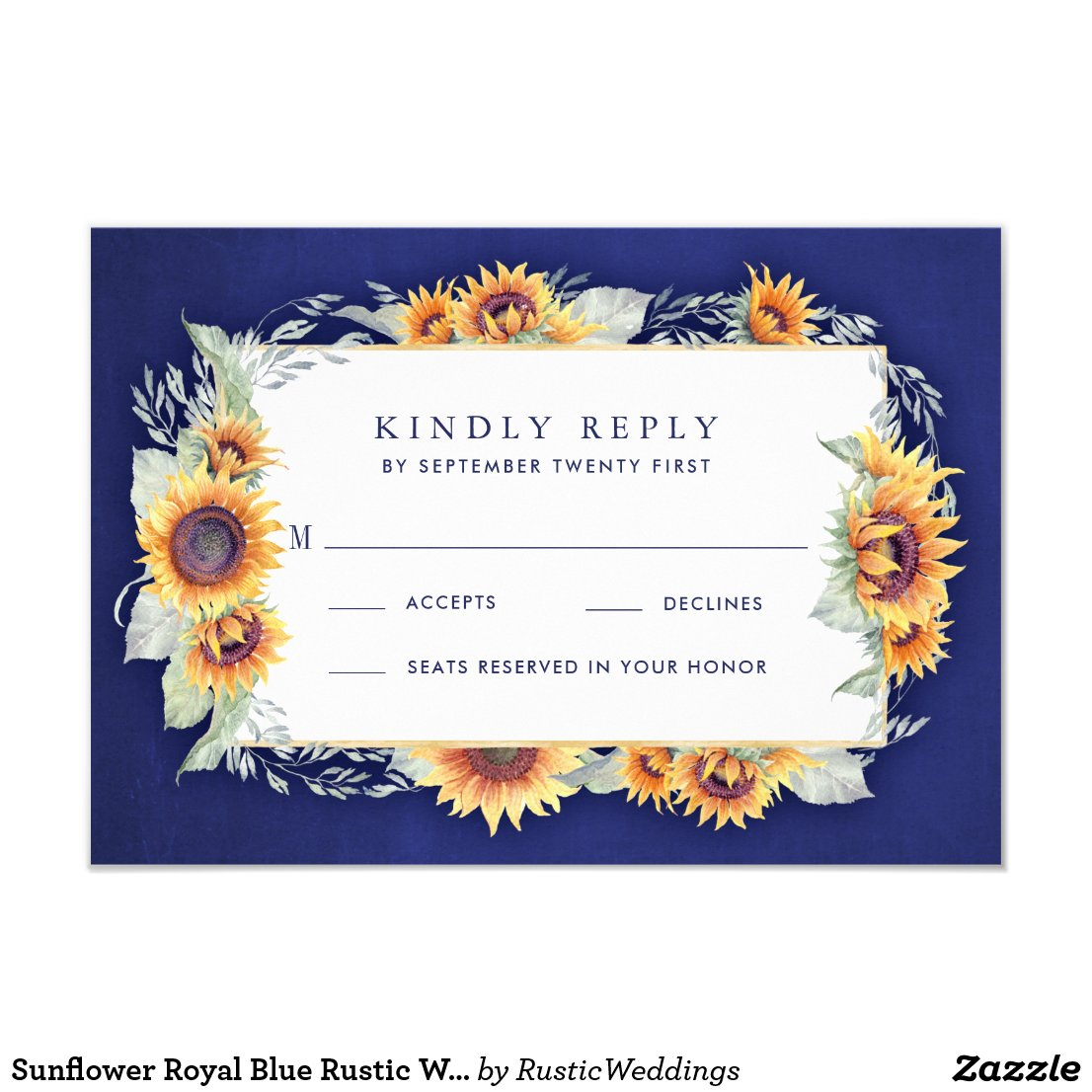 Royal Blue and Sunflower Wedding Invitations RSVP Cards