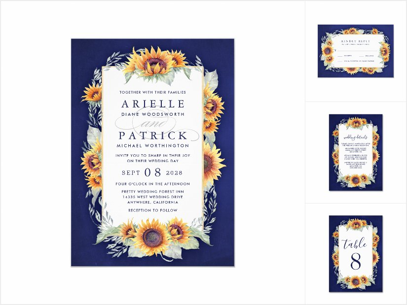 Royal Blue and Sunflower Wedding Invitations Set