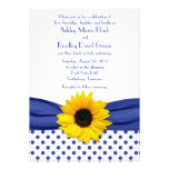 Sunflower Royal Blue White Polka Dot Wedding Custom Invite