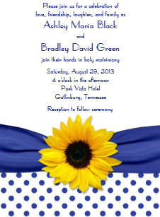 Sunflower Royal Blue White Polka Dot Wedding Invitation