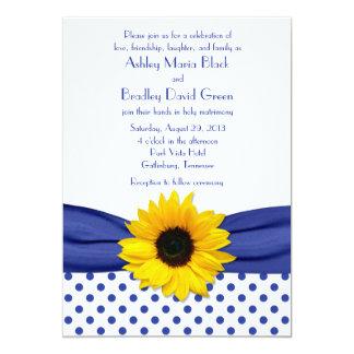 Sunflower Royal Blue White Polka Dot Wedding 5x7 Paper Invitation Card