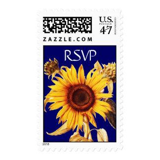 SUNFLOWER Rsvp Blue Postage Stamp