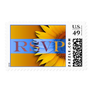Sunflower RSVP Spring Summer Fall Wedding Invite Postage