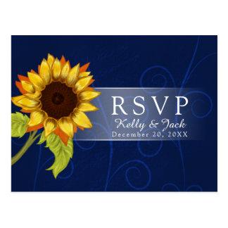 Sunflower/RSVP wedding Postcard