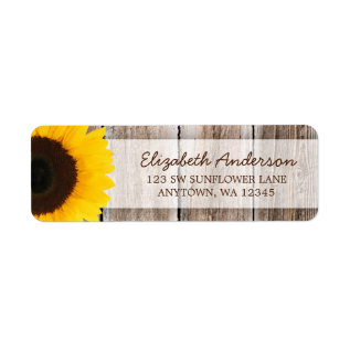 Sunflower Rustic Barn Wood Address Label at Zazzle