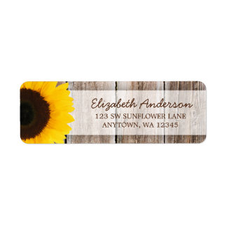Sunflower Rustic Barn Wood Address Label
