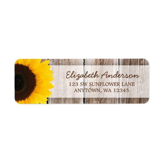 Sunflower Rustic Barn Wood Address Label